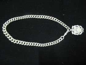 Hallmarked Sterling silver albert chain and fob 2.6ozt