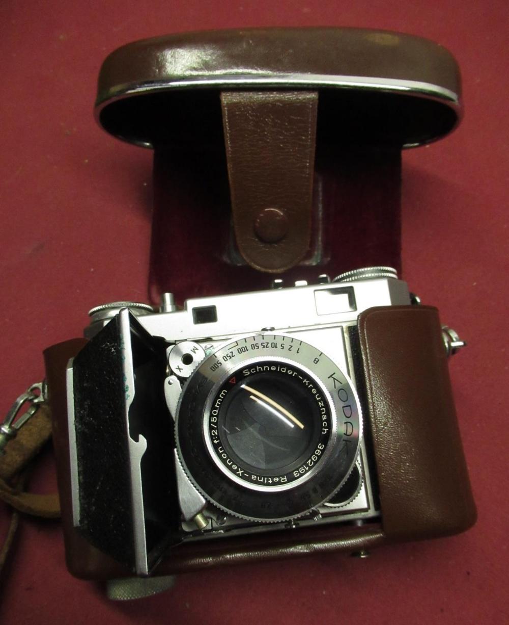 Kodak Retina IIa, Prinzflex 500E camera, Kodak box camera, small tripod, light meter, etc - Image 2 of 2