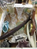 Collection of various glass ware including trumpet vases, small crystal vases, pressed glass, a