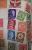 Facility stamp album containing Third Reich stamps, 1d red, Edw.VIII half d, 1d, 1 1/2d stamps and