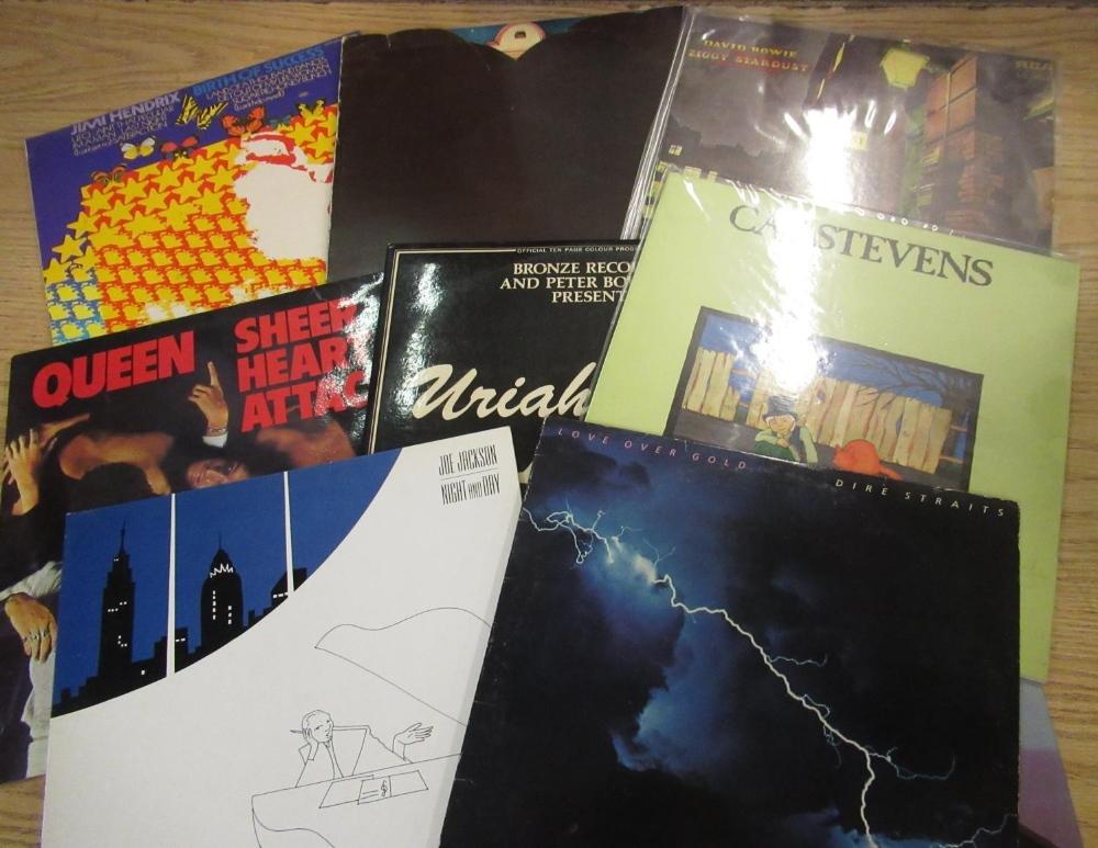 Collection of various LP's including Jimi Hendrix, Focus, David Bowie, Queen, Kat Stevens, Jo