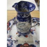 C19th Imari Pattern meat dish with moulded drainer and a C20th Sponge Ware jug decorated with scenes