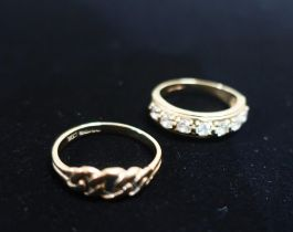 Hallmarked 9ct gold ring with chain detail Size N 1.7g and a hallmarked 9ct gold half hoop