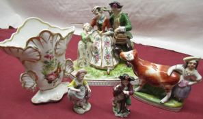 Late C19th early C20th Dresden style group depicting a family beside a rustic arbor H23cm, pair of