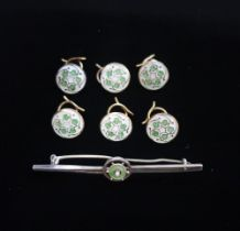 Set of six enamel dress studs with ivy design, and a silver and enamel bar brooch stamped 935Silver