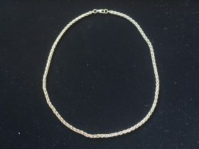 9ct gold palma chain necklace lobster claw clasp stamped 9K L42cm 13.7g