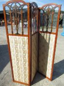 Edwardian satinwood two fold screen, three arched panels with glazed upper portion, painted in
