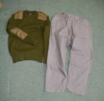 """100% acrylic military style wooly pully XL and a pair of Pegasus trousers 40 waist with 29"""" leg"""
