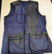 Gunmark shooting vest in blue cotton and leather patches XL
