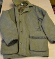 """Beaver sporting coat in Darby tweed C44"""" with leather trim cuffs and pockets"""