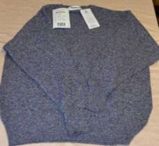 As new lambs wool V neck sweater in indigo C48