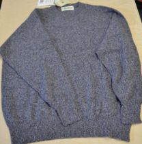 As new lambs wool crew neck sweater in indigo C48