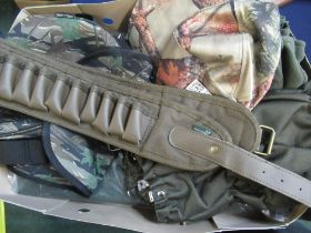 Shooting accessories incl. game bags, camoflage cartridge bag, pair of percussion gators, fingerless