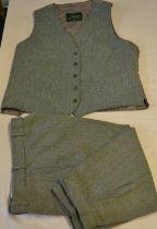 Beaver Darby tweed waistcoat size 48, pair of Darby tweed breeks W32