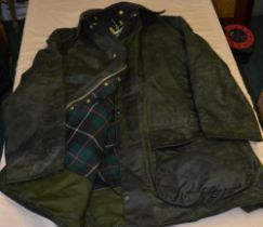 Barbour Northumbria wax jacket with liner and detachable hood in pocket C46 /117cm as new