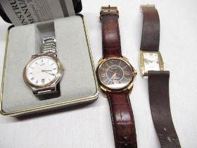 Citizen quartz wrist watch with date indicator, gold plated and stainless steel case on matching