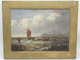 W.Wills (British C19th); Fishing boats off the coast in a heavy swell, steamer beyond, oil on panel,