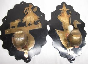 Pair of C20th Folk Art Little Bo Peep and Mother Goose brass wall sconces, silhouette cut out with
