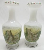 Pair of C19th Richardson opaline glass vases, bottle shaped bodies enamel decorated with a views