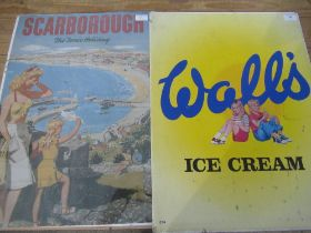 """1970's style Wall's ice cream tin plate sign, reproduction """"Scarborough - The Tonic Holiday"""" (2)"""