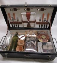 1920's G.W.S. & S. vintage trunk mounted four person picnic set, leather cloth bound trunk with