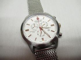 Swiss military Hanowa quartz conograph type wrist watch with date indicator, stainless steel case on