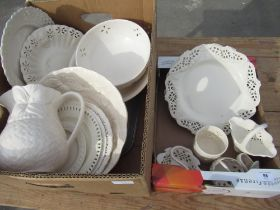 Small selection of Hartley Greens & Co Leeds pottery cream ware, selection of other cream ware