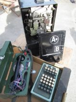 """1950's GPO payphone """"A&B"""" black painted coin box, BT 704B engineers testing phone, post WWII Bowl"""