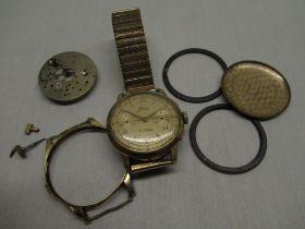 1950 Janex hand wound conograph wrist watch gold plated case on everflex bracelet, 9ct gold