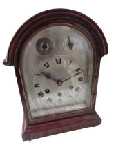 C20th arched top mahogany cased bracket clock, silvered dial with Roman chapter and subsidiary