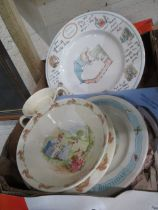 Selection of various Bunnykins dishes and bowls, Beatrix Potter birthday plates, Japanese hand
