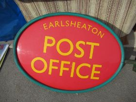 Wall mounted post office sign for Earlsheaton Post Office with mounting brackets
