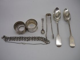 Collection of Foreign metalware incl. pair of Fiddle pattern spoons stamped 800, pr of similar sugar