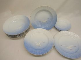 Bing & Grondahl porcelain dinner service, decorated with herring gulls on a shaded blue ground