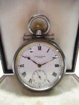 Swiss, retailed by Harris Stone Leeds, silver cased open faced keyless pocket watch, white enamel
