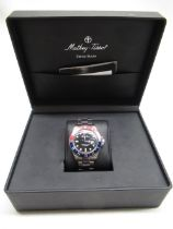 """Mathey-Tissot """"vintage"""" quartz diver's watch with date indicator, stainless steel case, Pepsi"""