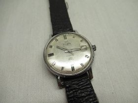 Transglobe automatic wristwatch with date indicator, chrome plated case on black leather strap screw