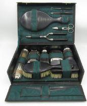 Vanity case with plush green interior