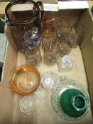 Box of various glassware including water jug with painted flamenco design and a set of six