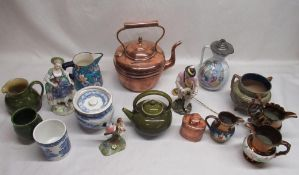 Linthorpe kettle marked 628, Crown Staffordshire bird modeled by JT Jones, jugs, candle snuffer etc
