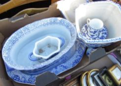 Large Copeland & Garrett rectangular meat dish, blue and white printed with cattle in a country