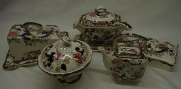 Mason's Mandalay pattern sauce tureen and cover with ladle and stand, cheese dish and cover,