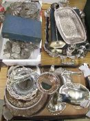 Collection of assorted silver plated ware, including teapots, cutlery, dishes, large stag etc (3