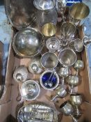 Small collection of silver plate and other metal ware including a continental lidded jug stamped