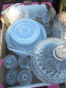 Large lead crystal diamond pattern punch bowl, cover and ladle with twelve single handled cups,