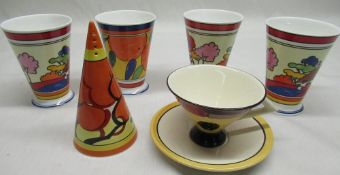 """Contemporary Wedgwood Clarice Cliff centenary 1899-1999 """"Bizarre"""" pattern sugar caster, set of"""