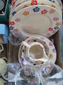 Collection of pottery including Emma Bridgewater flower pattern with six large plates, two small