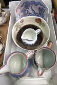 Two C19th lustre jugs, C19th Masons patent fruit bowl, blue & white dragon decoration & selection of
