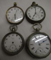 Swiss key wound open faced pocket watch, movement no. 568129, and three keyless open faced pocket