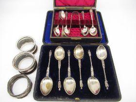 Set of six Victorian hallmarked Sterling silver apostle spoons by John Millward Banks, Birmingham,